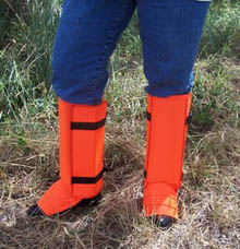 Sweet Liz in her blaze orange hi-vis snake guardz